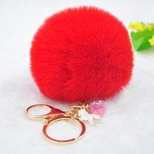 Bonito Unicórnio Chaveiro Pompom Vingadores Chaveiro areia movediça Pele Chaveiro Bola Pom Pom Fofo Saco Carro Chaveiro Para As Mulheres anel chave(China)
