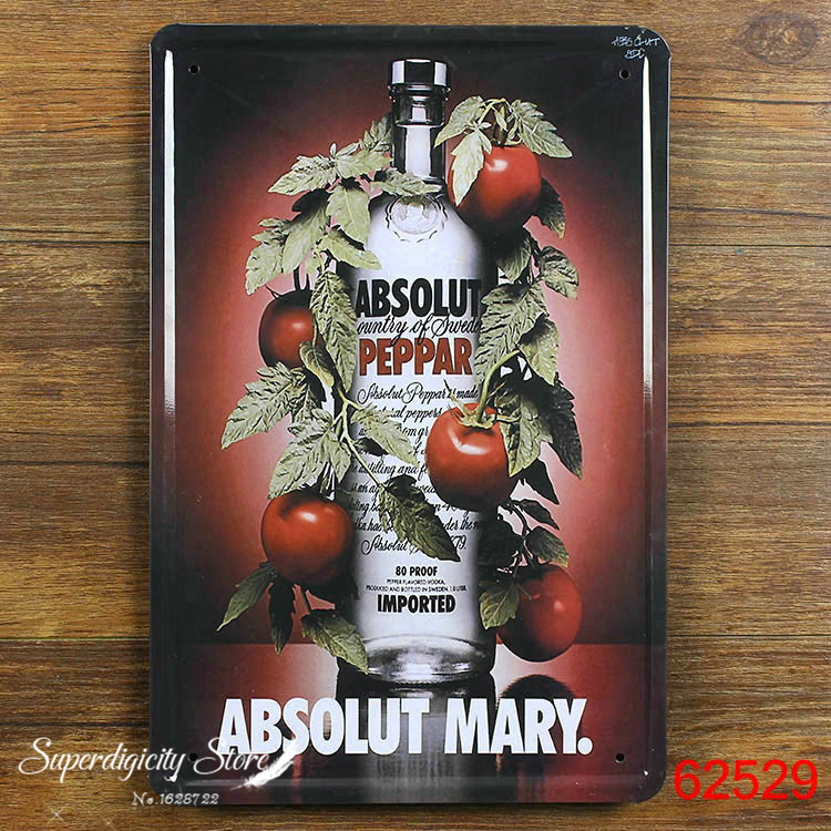 Christmas decoration TIN SIGN ABSOLUT MARY Metal Decor Wall Art Garage Shop W-29(China (Mainland))