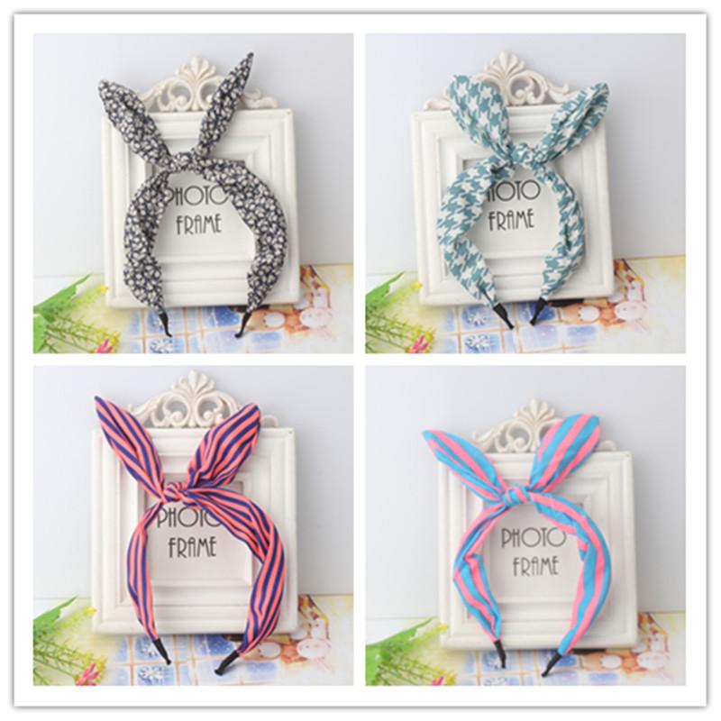 New Girl s Ribbon Bow Headdress Hair Accessories Rabbit Ear Hair Band Flower font b Plaid