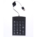 19 keys USB Number Keypad Retractable USB Cable Num Pad Keyboard for Laptop PC notebook Black