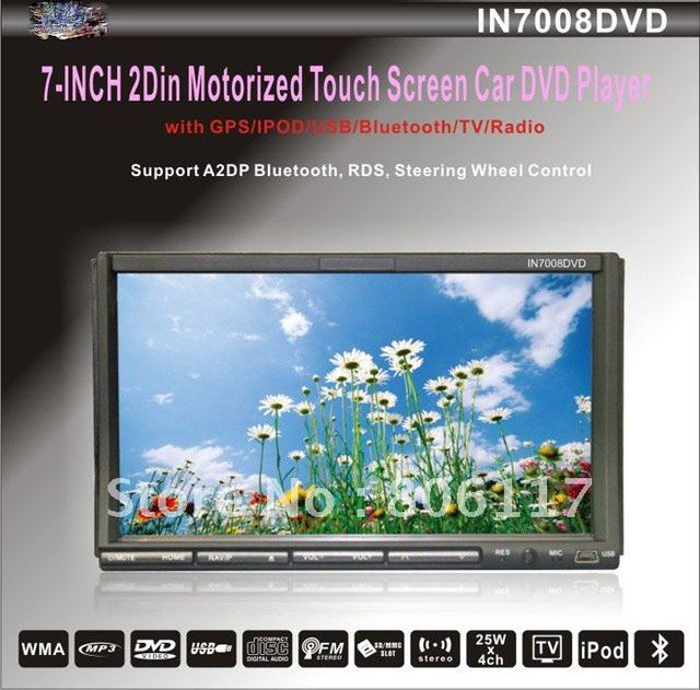 2Din 7inch Motorized panel Double din indash dvd player with bluetooth,GPS 3D Analog TV