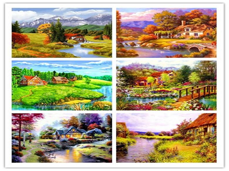 Diy Diamond Painting River House Beautiful Scenery Square Cross Stitch Home Decoraction Embroidery Mosaic Needlework Handicraft