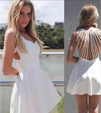 Dresses Sexy Summer Dress 2015 Women Dress Strappy Women Clothing Cute white hollow out dress circle