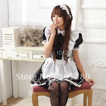 Free shipping 2014 black and white lotus leaf lace maid school uniform newest cosplay dress (dress +hair ornament +sock) D126
