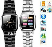 TW810 Watch Bluetooth Stain Steel 1.6 Inch Touch Screen Single Card Cell Mobile Phone Quadband GSM+JAVA 2 Colors(Option)