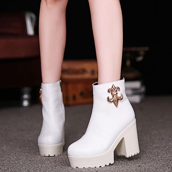 2014 новая зимняя мода диких стороны молнии на высоких каблуках и удобные платформы обувь Грубые с толстым дном женщин обувь XY265