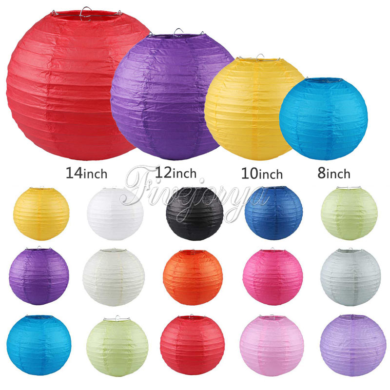 10pcs/lot Many Colors Paper Ball Chinese Paper Lanterns For Party and Wedding Decoration Hang Paper Lanterns 20cm 25cm 30cm 35cm(China (Mainland))
