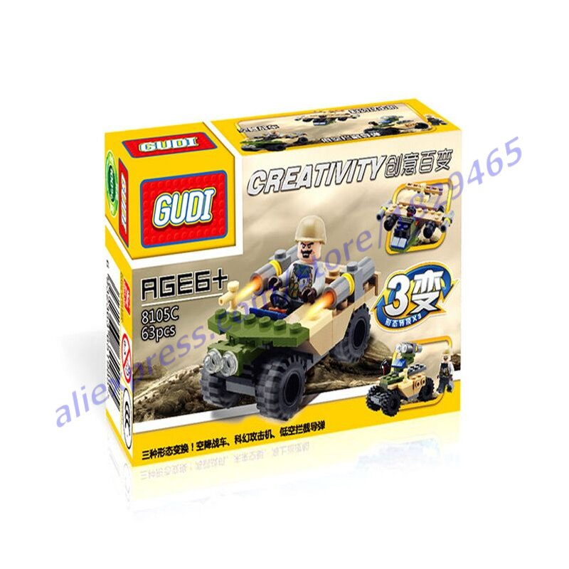 New 63Pcs Gudi new toys assembled military war military vehicle tank plain blocks plastic building blocks toys for children(China (Mainland))