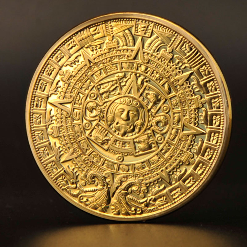 Free Shipping 2015 Maya Aztec Gold Plate Coins Commemorative Coin Medal Replica(China (Mainland))