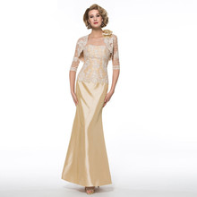 Elegant Gold Mother Of The Bride Dresses With Lace Jacket Strapless Sheath Long Mother Evening Gowns Custom Made Yisha Lady(China (Mainland))