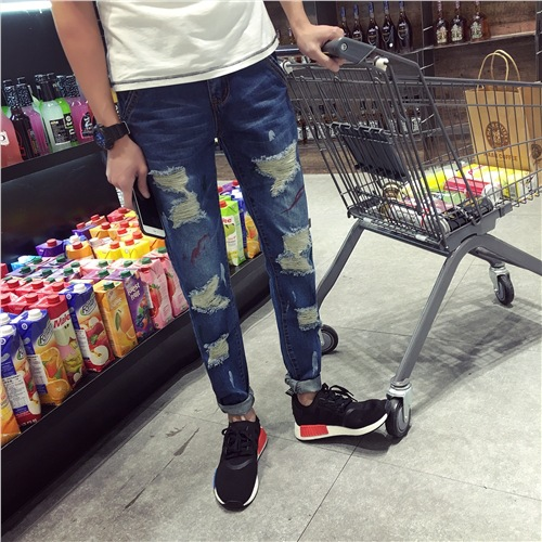 2016 spring summer new jeans slim hole jeans  youth stovepipe small Metrosexual straight leg pants