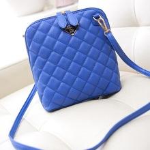 Vintage 2015 Shoulder Bags Fashion Plaid Leather Women Messenger Bags Small Shell Bags Zipper Trendy Crossbody