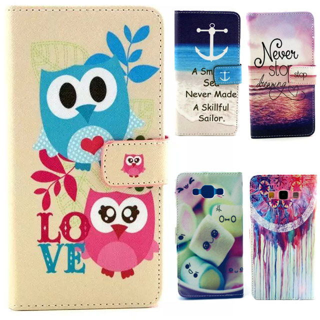 Fashion Cartoon Graffiti Colorful Painted Flip Stand Leather PU Credit Card Holders Wallet Capa Para Case For Samsung Galaxy A7(China (Mainland))
