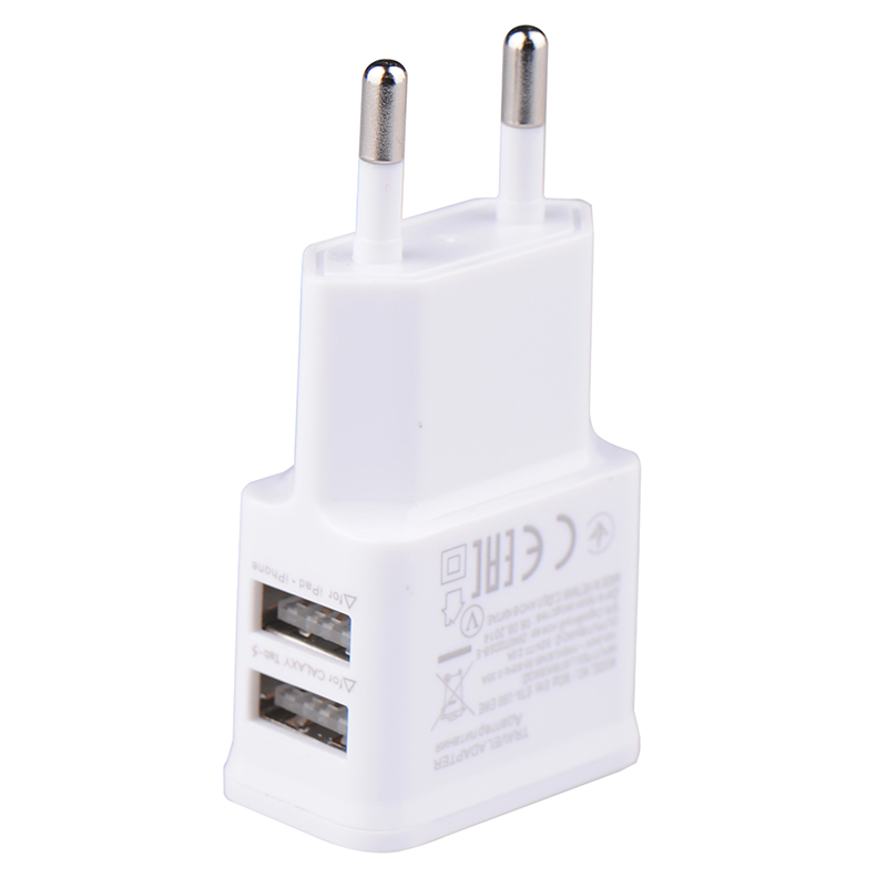 5V 2.0A Plug Dual Double USB Universal mobile phone charger Wall AC Power Charger Home or Travel For iphone ipad ipod(China (Mainland))