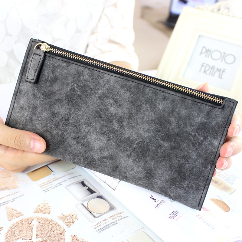 High Quality Ladies Long Wallet nubuck leather zipper bag ladies thin hand bag mobile phone bag Free Shipping women's wallet(China (Mainland))