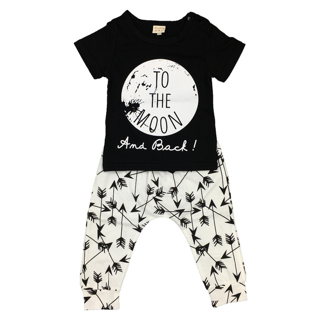 Summer baby boy/girl clothes cotton newborn printing short-sleeved t-shirt+pants