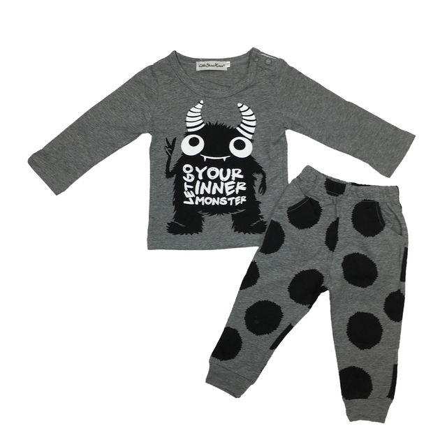 Baby boy/girl  cotton little monsters long sleeve t-shirt+pants  2pcs