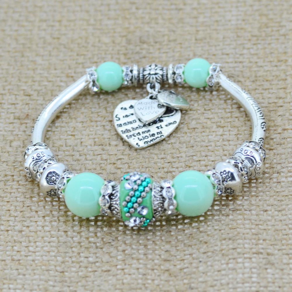 Fashion Silver Plated Jewelry Love Heart Charm Bracelets & Bangles Glass Beads Strand Bracelets for Women 2017 Boho Bohemian(China (Mainland))