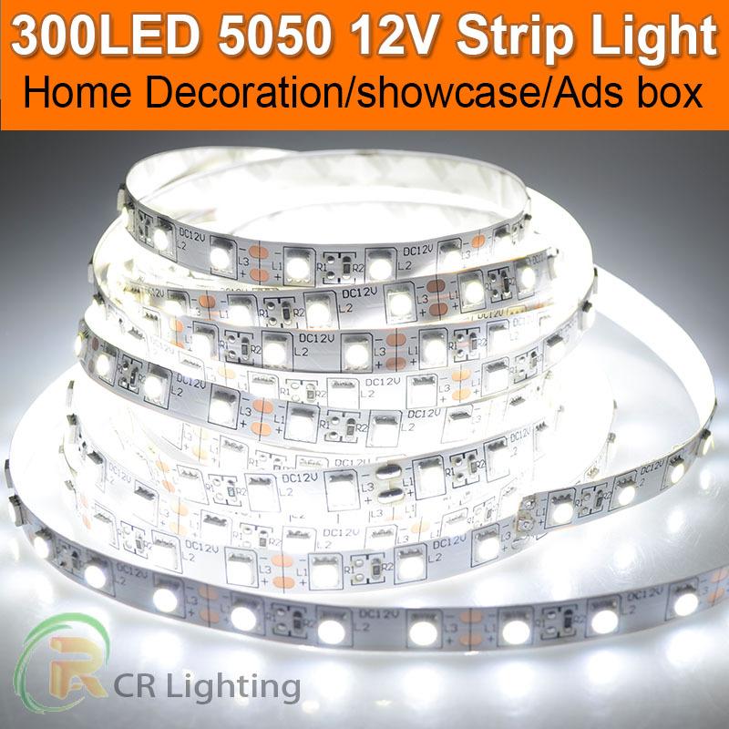 DC12V Flexible Strip LED 5050 SMD White Decoration IP65 Waterproof Fitas de Levou Light Tape Flex Rope(China (Mainland))