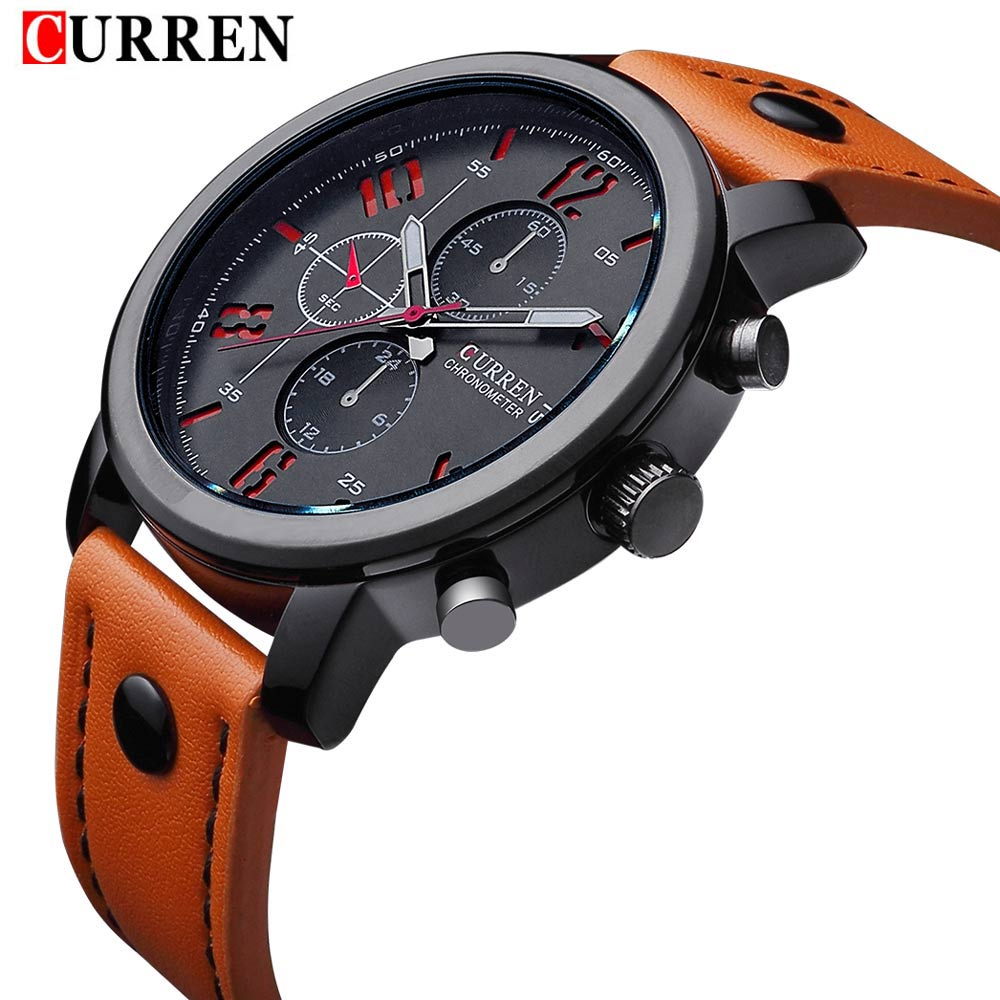 2016 fashion Curren brand design casual genuine leather military men clock army sport male gift wrist quartz business watch 8192(China (Mainland))