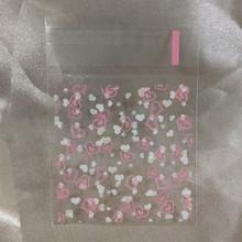 100 Teile/los 7*7 cm Rosa Klar Schönen Herz Cookie Verpackung Selbstklebende Kunststoff Pack Taschen für Keks Cupcake Back Paket(China (Mainland))