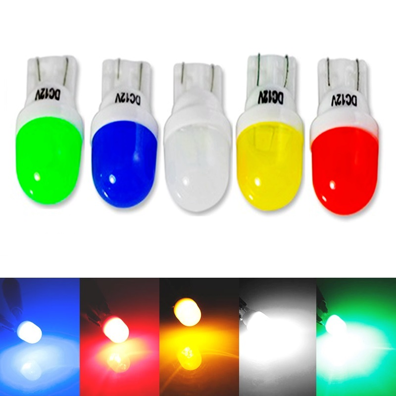 NEW T10 Ceramic LED Bubbles white blue green green yellow Car Door Side Number Lamp Light Bulb W5W 168 Auto Wedge Clearance Lamp(China (Mainland))