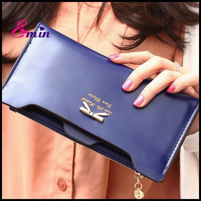 Women Fashion Wallet Golden Bow Knot Long Leather Card Holders Clips Flower Hasp Buckle Open Women's Wallets Clutch Purses XB008(China (Mainland))