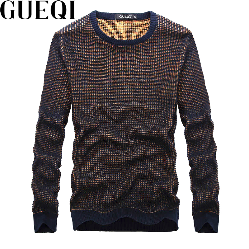 GUEQI Men Autumn Knitted Pullovers Size M-2XL O-Neck Warm Clothing 2017 Grey Brown Patchwork Man Casual Sweaters(China (Mainland))