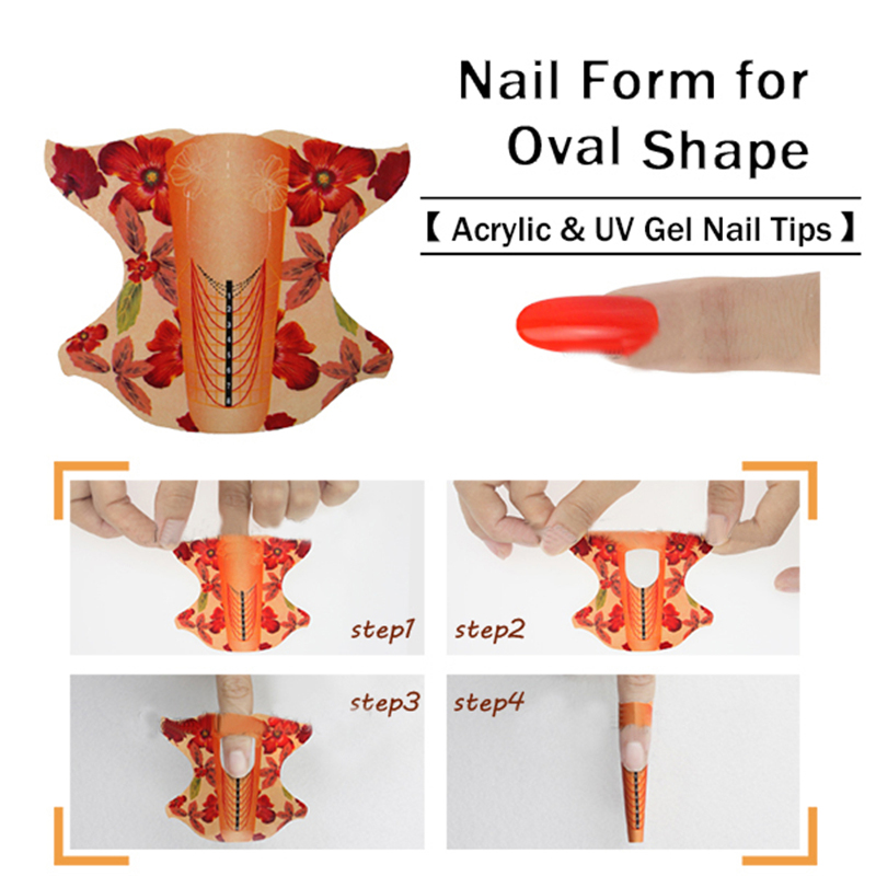 100pcs roll Oval Shape Adhesive Nail Form for Acrylic/UV Gel Nail Tips Nail Extension Nail Art Tool(China (Mainland))