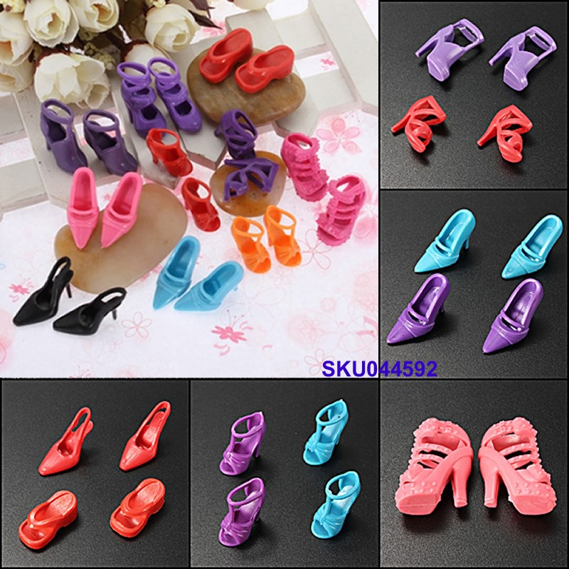 Set of 10 Pairs Vogue Dolls Sneakers Heels Sandals For Barbie Dolls Outfit Gown Free Delivery