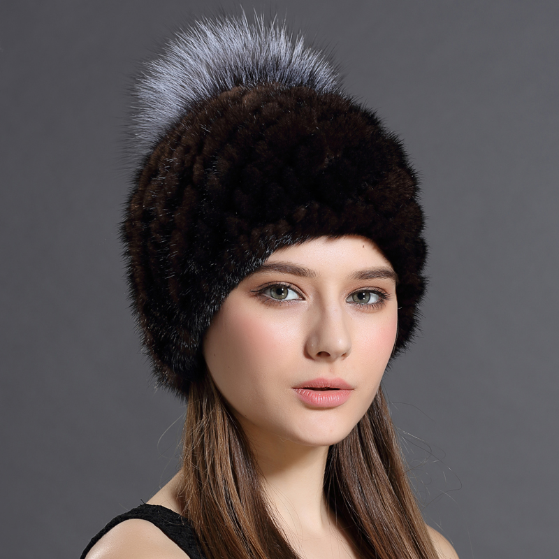Women Hat Beanies Of Winter Genuine Fur Caps Real Mink Fur With Balls Hat Caps For Girls Fashion Russian Ushanka Cap(China (Mainland))