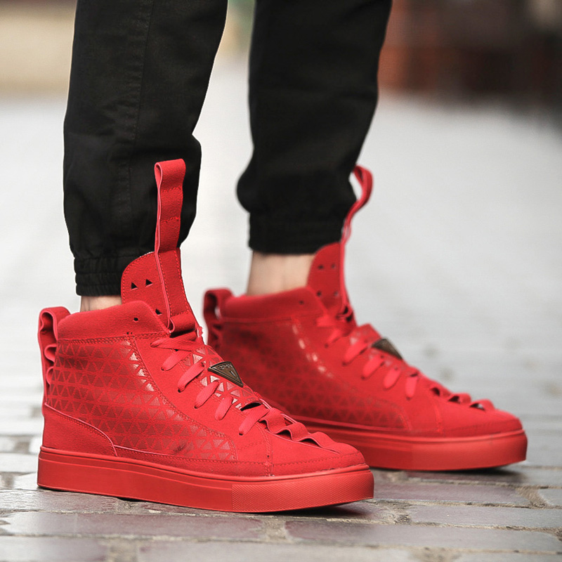 Red Breathable Spring Men Casual Shoes High Quality High Top Men Casual Flat Shoes Lace Up Hip ...