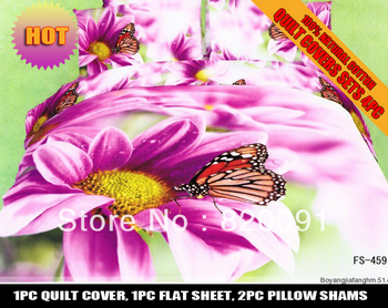 3D Big Magenta daisy Flower Butterfly Printed Bed Set Duvet Cover Set Home Textile 4PCS Full/Queen Size Oil Painting, Cotton