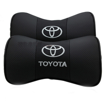 New arrived 2pcs/set car styling Genuine leather auto car logo headrest neck pillow seat cushion covers For Toyota(China (Mainland))