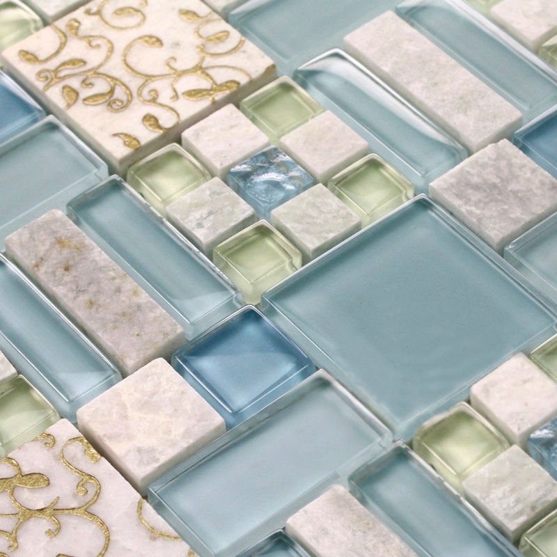 Marble Tile Sheets Square Stone Mosaic Art Wall Kitchen Backsplash Shower Design Wholesale