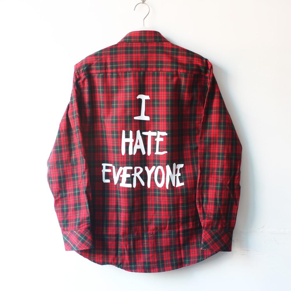 Men Women hip hop red font b Tartan b font Plaid top hba I Hate Everyone