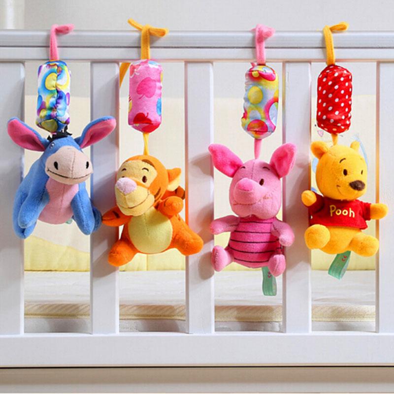 Baby Rattles 1pcs/set Newborn toys baby stroller toy Winnie cartoon baby bed rattle bebe brinquedo baby plush toys(China (Mainland))