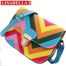 2015 New Women Rainbow Color Bag Ladies PU Leather Crossbody Shoulder Bag Small Brand Party Bags High Quality Messenger Bag