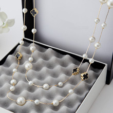 2016 New Hot  Fashion Women Accessories Simulated Pearl  Necklace   Pendant  Long  Necklace  X034(China (Mainland))