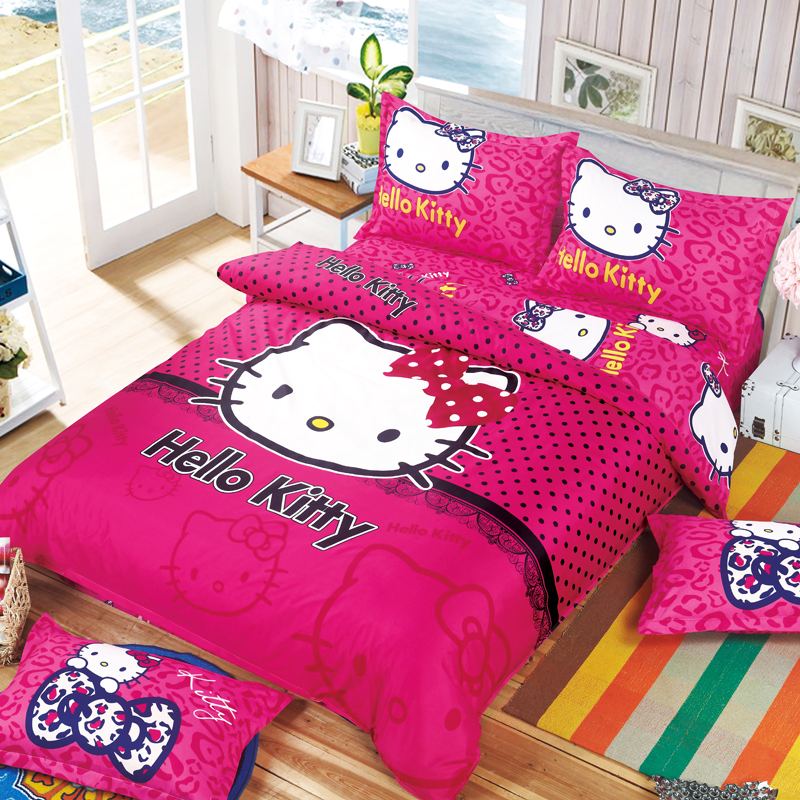 Reactive Printed Hello Kitty Full Queen King Size Bedding Set 3 4 Pcs High Quality With Best