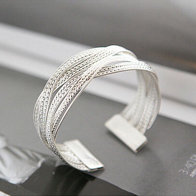 Women Summer Cuff Gold Plated Arm Bracelet Sterling Silver Jewelry Wide Bracelets Femme Manchette Metal Bangles SS5046(China (Mainland))