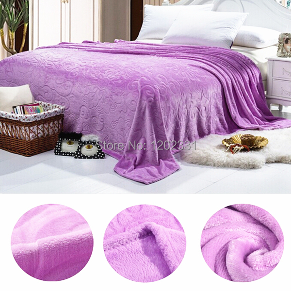 Фотография 2015new Coral fleece flannel blanket home textile 200*230cm size solid color thick emboss stocking soft beding set  8 pure color