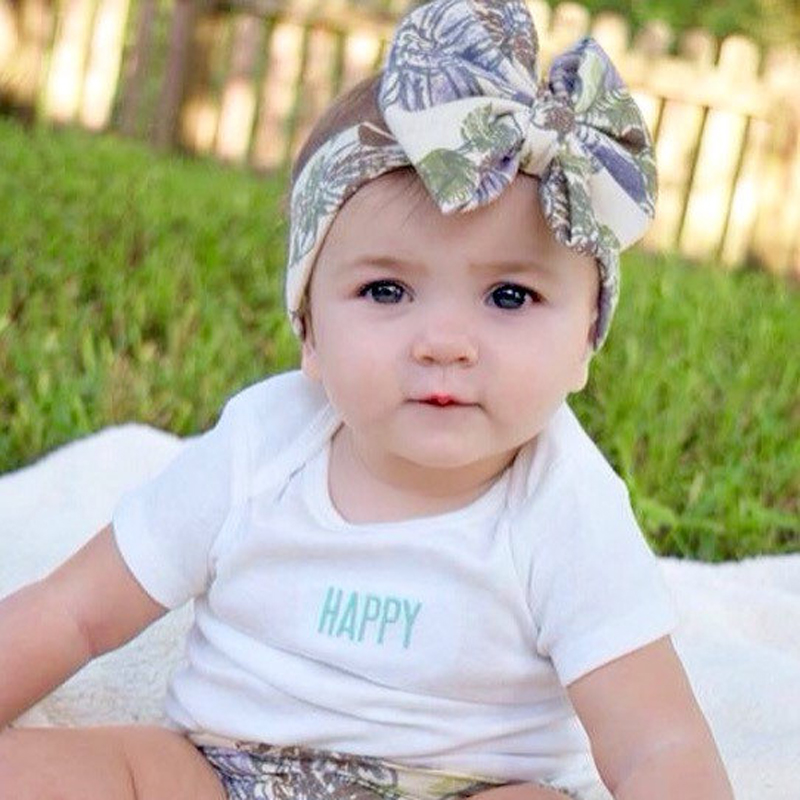 New Baby Floral Print Messy Bow Headband Organic Big Bow Headwrap for Girl Hair Accessories Fashion Baby Turban Headwrap 10PCS(China (Mainland))