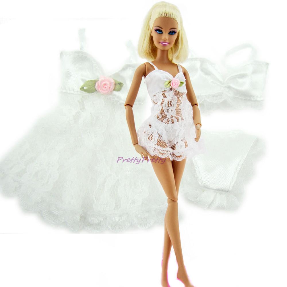 2 Units Pink +White   Horny Pajamas Lingerie Nightwear Lace Evening Costume + Bra + Underwear Garments For Barbie Doll Skirt Garments