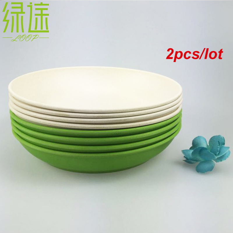 2PCS Deep dishes dinner plate new design deep bowls bamboo fiber dishes cake white blue plates designer plates(China (Mainland))