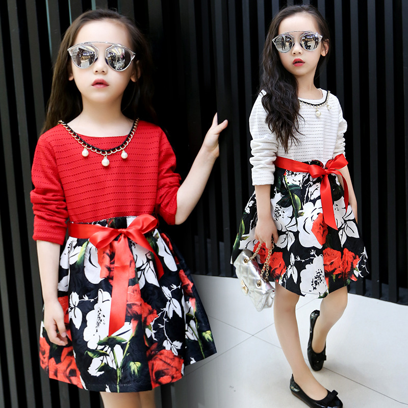 Fashion Children Clothing Girls Floral Print Dresses Kids Clothes Cute Long Sleeve Girl Red Flower Girl Casual Dresses Stripe(China (Mainland))