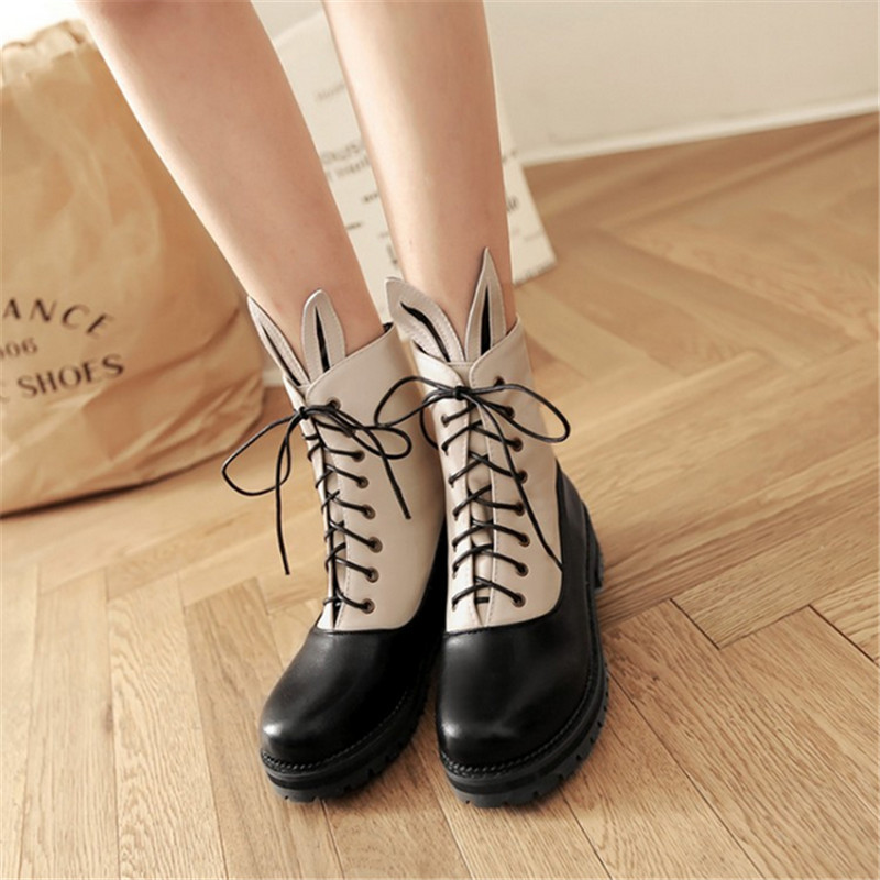 Plus size autumn platform women boots thick heel female martin boots spring and autumn lacing round toe low-heeled ankle boots
