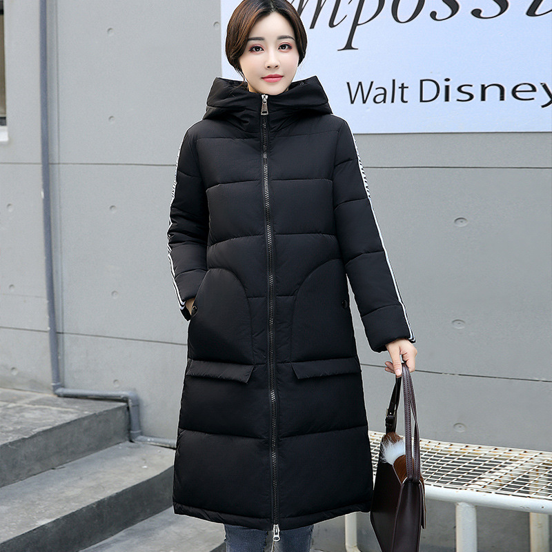New 2017 Fashion Parkas Long Hooded Patterns Print Cotton Padded Thicken Slim Jacket Patchwork Female Outwears