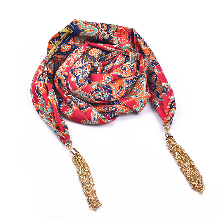 2015 New Cotton Multicolor Women Scarf Necklace with Gold Tassel for Party and Street Clothing Match Wholesale(SC150053)(China (Mainland))