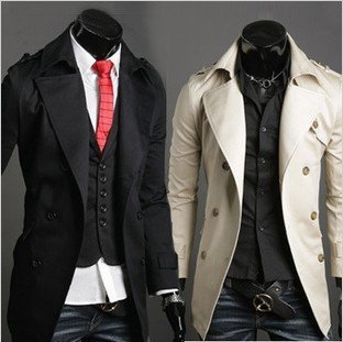 Men's Stylish Double Breasted Long Trench Coat Jacket Windbreak Cotton dust coat men Jacket free shopping